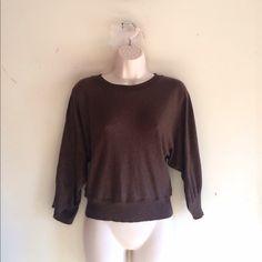Max Studio 3/4 Sleeve Pullover Soft 100% cotton, chocolate brown, wide 3/4 length sleeves, crew neck. No trades. Generous discount with bundle. Max Studio Sweaters Crew & Scoop Necks