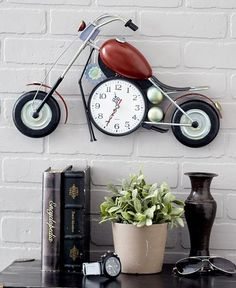 The Motorcycle Clock acts as a piece of functional art! A dia. analog clock is set into the space beneath the gas tank. Makes the perfect gift for a biker or motorcycle enthusiast. x x Metal. Man Cave Diy, Man Cave Home Bar, Thrifty Decor, Diy Home Decor, Motorcycle Clock, Bicycle Clock, Biker Bar, Garage Double, Red Cabinets