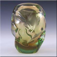 Skrdlovice Czech 1960's Amber + Green Cased Glass Vase - £26.99