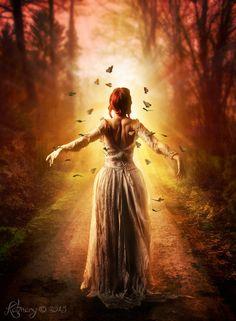 Embrace the light by katmary on DeviantArt Foto Fantasy, Fantasy Magic, Fantasy Art Women, Dark Fantasy, Fantasy Photography, Artistic Photography, Tumbrl Girls, Beautiful Anime Girl, Best Friends Forever