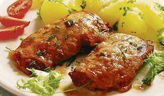Pečené v rúre: Smotanové bravčové rezne s mozzarellou | DobreJedlo.sk Meatloaf, Tandoori Chicken, Chicken Wings, Pork, Food And Drink, Cooking Recipes, Yummy Food, Fish, Dinner