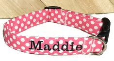 Pink and White Polka Dot Personalized Cat or Dog Collar// Spring or Summer Collar with Name // Matching Bow Option // Matching Leash Option by KVSPetAccessories on Etsy Metal Engraving, Cat Accessories, Girl And Dog, Cat Collars, Pet Names, Metal Buckles, Friendship Bracelets, Your Pet, Dog Cat