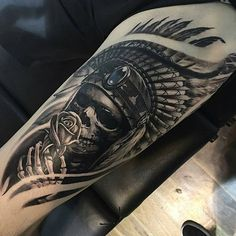 Arm Tattoo 93758 Cool Indian Skull Upper Arm Tattoo Designs - Best Arm Tattoos For Men: Cool Upper, Lower, Inner, Front, Back and Side Arm Tattoo Designs and Ideas For Guys Dope Tattoos, Native Tattoos, Tattoos Arm Mann, Leg Tattoos, Arm Band Tattoo, Body Art Tattoos, Man Arm Tattoo, Red Indian Tattoo, Indian Skull Tattoos