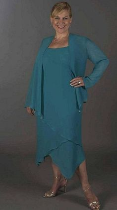 Ursula Plus Size Tea Length Mother of the Bride Jacket Dress 43954T at frenchnovelty.com