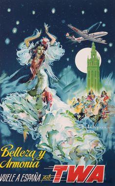 Vintage Travel Poster - Spain - (TWA).
