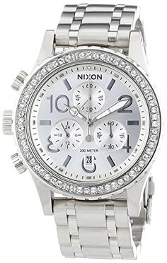 Women's Wrist Watches - Nixon A4041874 Ladies 3820 Chrono All Silver Crystal Watch * Read more at the image link.