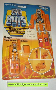 vintage Tonka / Ban-Dai toys action figures GO BOTS / MACHINE ROBO 1983 DOZER mr-11 new - still factory sealed in the original package condition: displays very nicely as showcased in photo. nice color