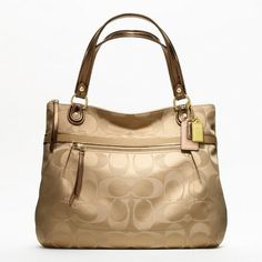 Coach Poppy Signature Sateen Glam Tote ($198) ❤ liked on Polyvore