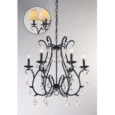 Bought this for my new tray ceiling in my dining room! 6 Light Curved Iron and Crystal Chandelier, from Overstock.com.  $164