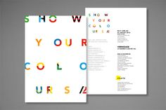 VISARTE : SHOW YOUR COLOURS by Nicolas Zentner, via Behance  (This kind of color treatment could work for our boldest)
