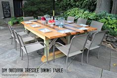 """o"" Is For Outdoor Trestle Dining Table"