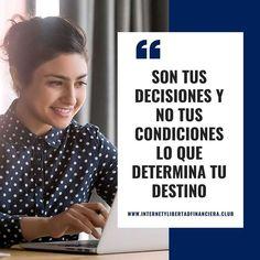 """Eduardo Amunátegui Paz en Instagram: """"👉 Son tus decisiones y no tus condiciones lo que determina tu destino. . . 🎯 Si te gustó este post, compártelo en tu historia y regálame un…"""" Desktop Screenshot, Instagram, Destiny, Motivational Quotes, Peace, Historia"""
