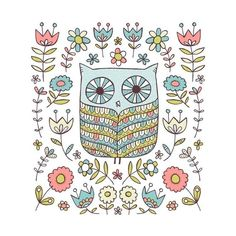 Owl-limited edition screen print 12 x 12 from jenskelley etsy shop