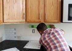 New Peel and Stick Subway Tile Backsplash — Tag & Tibby Design Stick Tile Backsplash, Stainless Backsplash, Subway Tile Backsplash, Kitchen Backsplash, Backsplash Ideas, Tile Ideas, Kitchen Countertops, Peel And Stick Tile, Stick On Tiles