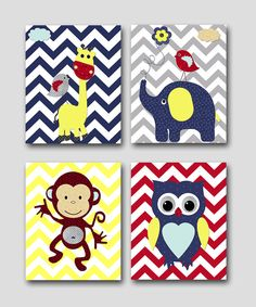 Monkey Nursery Owl Nursery Giraffe Nursery Elephant Nursery Baby Boy Nursery art print Children Wall Art Baby Room Decor print set of 4 8x10 on Etsy, $56.00