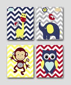 Monkey Nursery Owl Nursery Giraffe Nursery by artbynataera on Etsy, $80.00