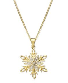 Victoria Townsend 18k Gold over Sterling Silver Necklace, Diamond Accent Snowflake Pendant - Necklaces - Jewelry & Watches - Macy's * Christmas 2014 decor