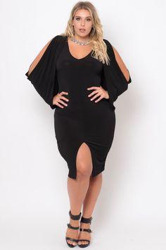 Plus Size Cold Shoulder Grecian Dress -Black