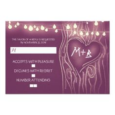 Night lights or string lights tree romantic purple wedding reply cards for your rustic outdoor wedding. #tree #rsvp #string #lights #rsvp #rustic #wedding #rsvp #love #tree #rsvp #wedding #response #outdoor #wedding #rsvp purple