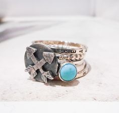 Arrows Crossed // Personalized Stacking Ring // Sterling Silver and Turquoise