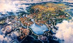 Here is an article that i've promised to you a loooong time ago. It took me some time but this two parts Animal KIngdom original artwork a. Disney Animal Kingdom, Old Disney, Disney Art, Disney Theme, Disney Stuff, Disneyland Map, All Disney Parks, Walt Disney Imagineering, Disney Kunst