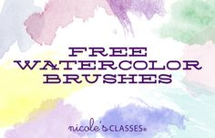 Photoshop 101 teacher Holly demonstrates how to use watercolor brushes in Photoshop to give your designs that cool hand painted look. And download a ton of great free watercolor brushes to practice with! via Nicolesclasses.com