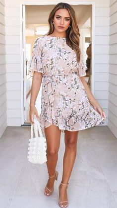 The Pure Heaven dress is a beautiful, blush floral print dress! Floral print dress Ruffle hem and sleeve detail Waist tie included Easy fit Polyester Cold gentle hand wash Bust Waist Length Ruffle Dress, Ruffles, Going Out Outfits, Trendy Outfits, Wrap Dress, Fashion Dresses, Wedding Dresses, Party Dresses, Pure Products