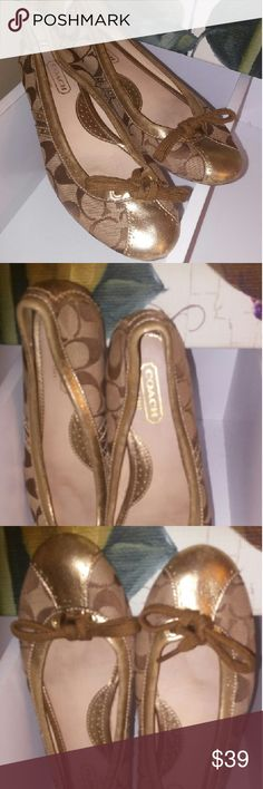 Coach ballet flats Classic Coach tan and brown with gold trim ballet flats. These are pretty and only worn once. They could pass for new with little to no effort. Great deal. I sold mine last week for $50 plus shipping. Coach Shoes Flats & Loafers