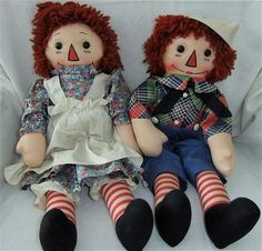 Another set that belong to me: Georgene Novelties Black Outline Nose (BON) MINT IN BOX Raggedy Ann and Andy