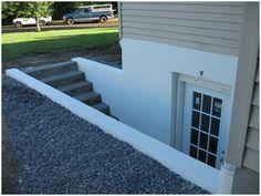 PA, lancaster County, Custom Basement Walkout Egress Door Installation, basement entrance, cinder block walls, stucco finish, Leacock, Littl...