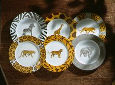 original set of 6 dinner plates.so jungle! (#safari, #out of africa, #jungle) Jungle collection, safari, , Dinnerware, porcelain, Africa, hand made,FRAGILE by Patricia Deroubaix.Limoges France