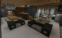minecraft Interior: I really like the raised area with the fireplace beneath