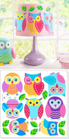 This set of Owl Peel and Stick Decal Cut Outs is a real hoot! It includes 2 decal sheets. Each decal sheet has a decal of eight different owls and green leaves. $14.99