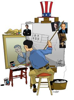 Tribute to Stephen Colbert, it's a parody of that famous Norman Rockwell self portrait. He thought that this would be a perfect fit for Colbert.