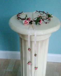 Pink Coral Flower crown Bridal shower ready ship by AmoreBride