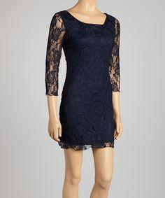 Love this Navy Lace Scoop Neck Dress - Women by Star Vixen on #zulily! #zulilyfinds