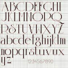 Cross stitch font alphabet