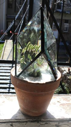 Stained Glass Bevel Quartz Inspired Plant Topper