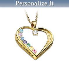 """""""Footprints In The Sand"""" Personalized Birthstone Necklace - A truly inspirational gift for Mom or Grandma!  Add up to 7 family member's birthstones.  The side of the heart-shaped charm features the phrase """"Only one set of footprints is when I carried you""""."""
