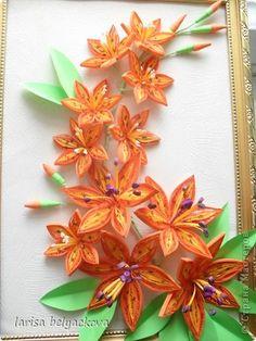 Картина панно рисунок Квиллинг И еще лилии - квиллинг Бумажные полосы фото 1