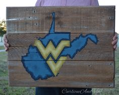 West Virginia University-Pallet Board-Pallet Wall Art-Rustic Barnwood Decor-Man Cave-Flags-Shabby-Reclaimed Wood-Hand Painted by CurlicueAndVine on Etsy