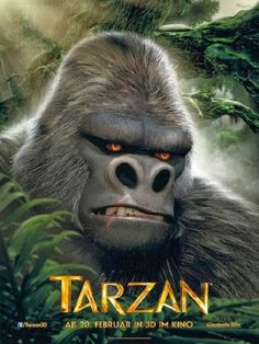 Tarzan's Great Apes were fictional and although large, they were less fierce than gorillas. Bolgani the gorilla was misunderstood in the early and in the novels were vicious killers to be feared. Tarzan 3d, Tarzan Movie, Disney Movie Scenes, Disney Movies, Cinema, Great Movies, Novels, Movie Posters, Movies