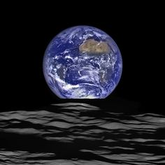 """This version of an """"Earthrise"""" image was just published today by NASA. It was taken looking over the edge of the Moon's Compton Crater by the amazing LROC camera on the Lunar Reconnaissance Orbiter spacecraft"""