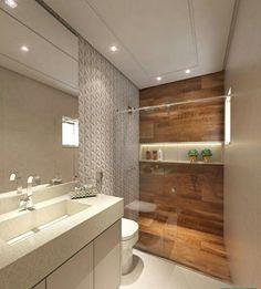 madeira no banheiro; como usar madeira no banheiro; madeira no banheiro dentro Wood Bathroom, Bathroom Interior, Interior Design Living Room, Modern Bathroom, Bathroom Lighting, Bathroom Ideas, Bathroom Pink, Bathroom Layout, Washroom