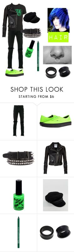 """Death metal band inspired outfit"" by blake-the-emo-husky-boy ❤ liked on Polyvore featuring Palm Angels, Vans, Dsquared2, Moschino, ASOS, NYX, NOVICA, men's fashion and menswear"