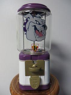 Purple and Gold Bulldog themed Acorn gumball machine with 11 lb globe.