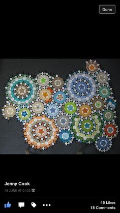 Facebook. All the stars are indigo and diamonds are white. One Block Wonder, Millefiori Quilts, Kaleidoscope Quilt, Quilting Projects, Quilting Designs, English Paper Piecing, Circles, Indigo, Diamonds