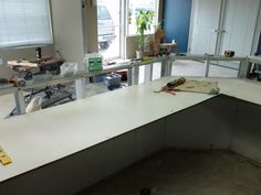 Service counter and backing from reclaimed materials from YMCA of Oakville during their renos Service Counter, Corner Desk, Store, Home Decor, Homemade Home Decor, Tent, Shop Local, Corner Table, Larger