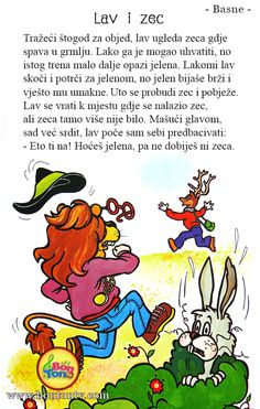 Lav i zec - basna - Ezopove basne - Ezop Preschool Education, Preschool Science, Croatian Language, Kids Library, Alphabet For Kids, Early Finishers, Kindergarten Math, Classroom Management, Activities For Kids