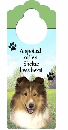 "Sheltie sign - but I need one that says ""Spoiled rotten sheltieS live here""  I have more than one & they are all spoiled!!!"